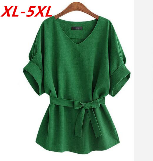 Plus Size XL-5XL Korean Bow Sashes Linen Retro  Summer V-neck Long Blouse Loose Casual Solid Shirt Blusas Women Tops T63810