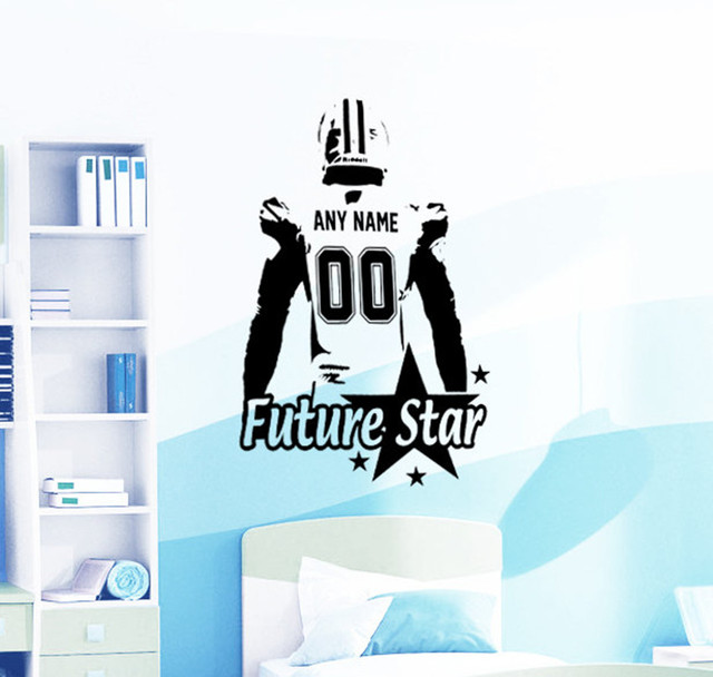 American football decal wall art custom name numbers large player vinyl sticker future stars kids