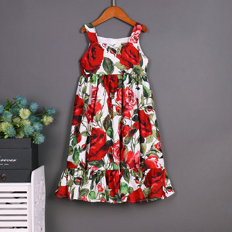 Summer beach vacation children lady girls family matching clothes mother daughter dress Toddler vest skirt braces dress red rose children clothing mother and daughter dress xl xxxl lady women infant kids mom girls dress with dancing rabbit beautiful skirt