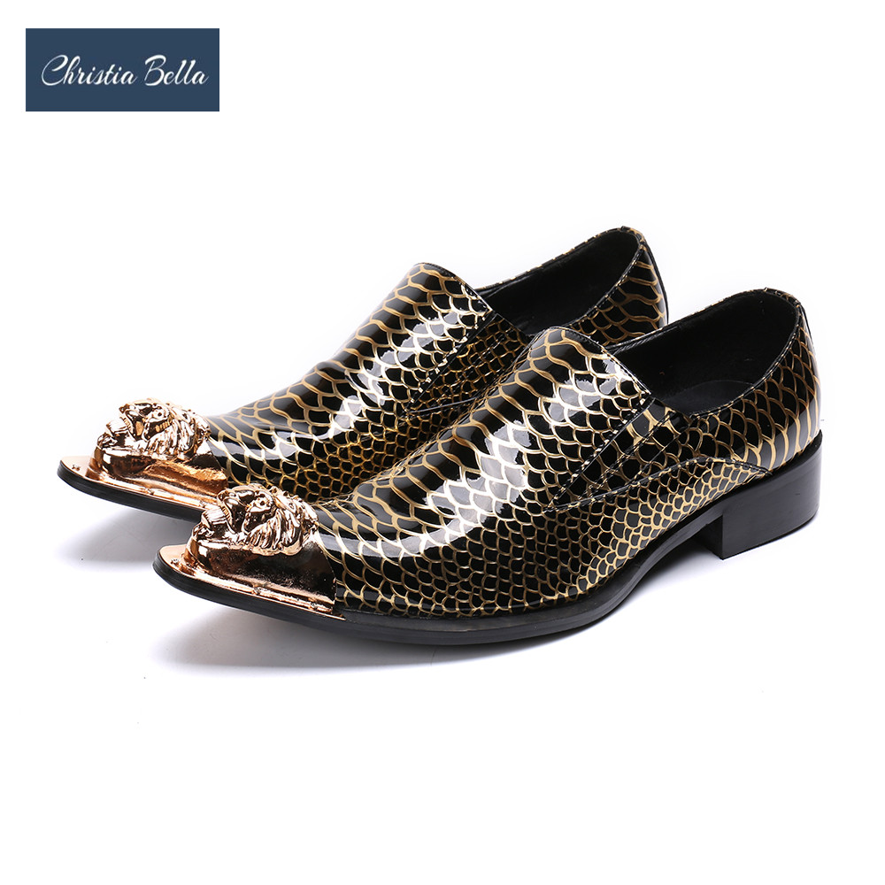Christia Bella luxe or impression hommes chaussures en cuir véritable bout pointu formel hommes robe chaussures parti affaires Oxford chaussures
