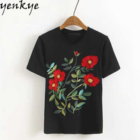 2017 Floral Embroidery Black T Shirt Women Summer Tops O Neck Short Sleeve Casual T Shirts