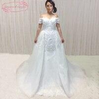 SuperKimJo Robe De Mariee Detachable Skirt Wedding Dresses Mermaid 2018 Lace Applique Peals Bridal Dress Vestido De Novia