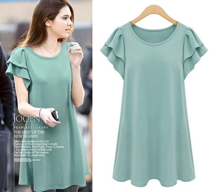 New Women Girls Plus Short Sleeve Dress Crew Neck Longer Tops Size ...