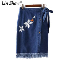 LINSHOW Women Floral Embroidery Tassel Bandage Skirt Button Drawstring Pencil Micro Mini Skirts Summer Party Club Denim Skirts