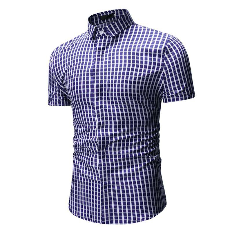 Plaid Shirt Men Summer New Casual Slim Fit Short Sleeve Mens Dress Shirts Single Breasted Chemise Homme Camisa Masculina XXXL