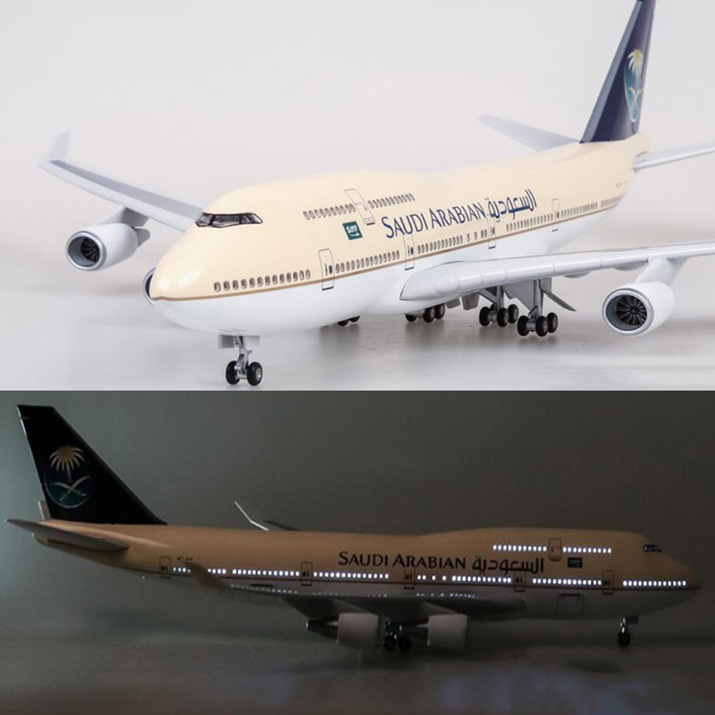 1 150 Scale 47cm Airplane Boeing B747 400 Aircraft Saudi Arabian Airlines Model W Light and