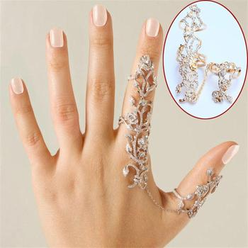 Chic Rings Multiple Finger Stack Knuckle Band Crystal Set Womens Fashion Gold Silver Plated Flower Charm Jewelry NEW Gift silver multiple rings
