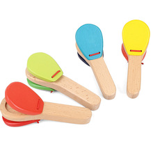Free shipping, orff percussion instruments, Germany GOKI, solid wood baby long handle castanet, children's music toys цена