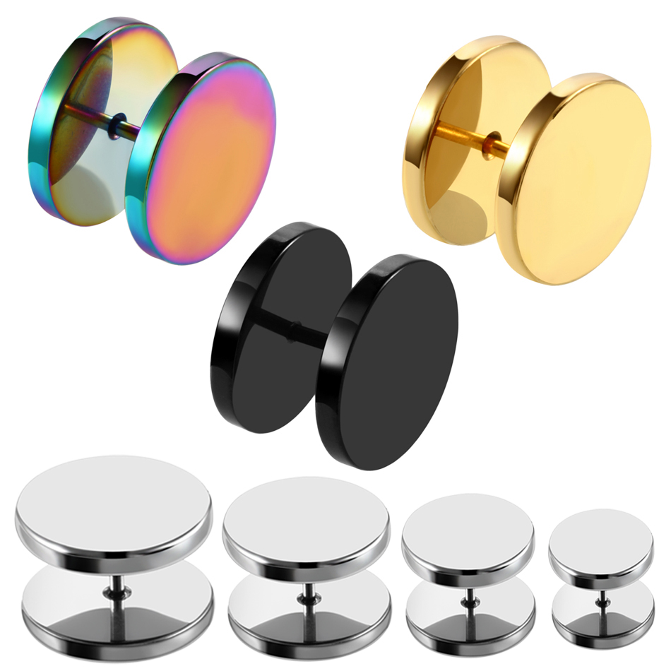 2PCS Steel Fake Ear Plug Ear Tunnels Punk Plugs and Tunnels Stretcher Ear Tunnel Stud Earring 6/8/10/12/14mm Sex Body Jewelry image