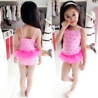 High Quality Print Pink One Piece for Children Sweet Lace girs swimwear Baby Bathing Suit Flower Swimsuit Kids 2016 new arrival