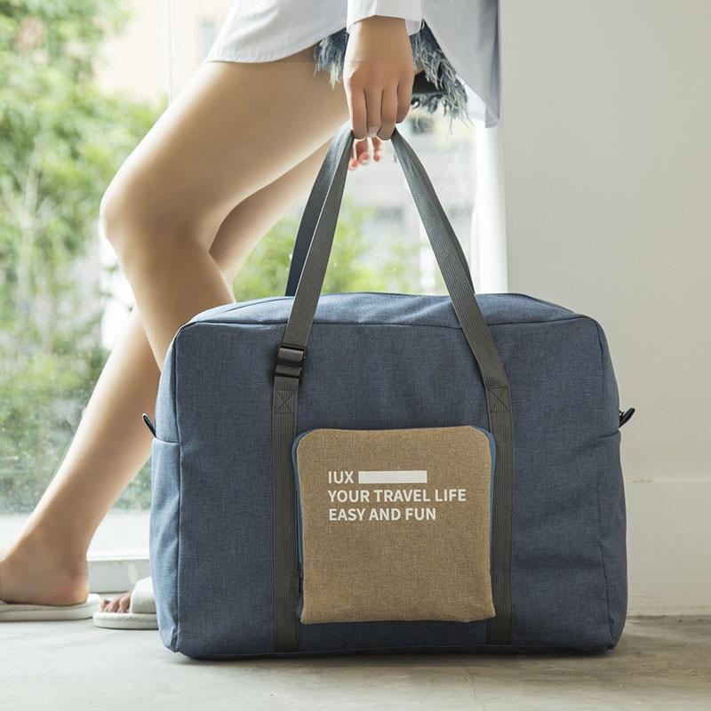 Bolsa de viaje impermeable de nailon de gran capacidad para mujer bolsa de viaje plegable equipaje de mano embalaje cubos organizador envío gratis