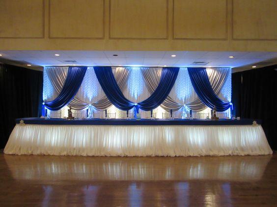 Toile de fond blanche de mariage de 10ft * 20ft avec le bleu royal et le rideau argenté de mariage de décoration de mariage
