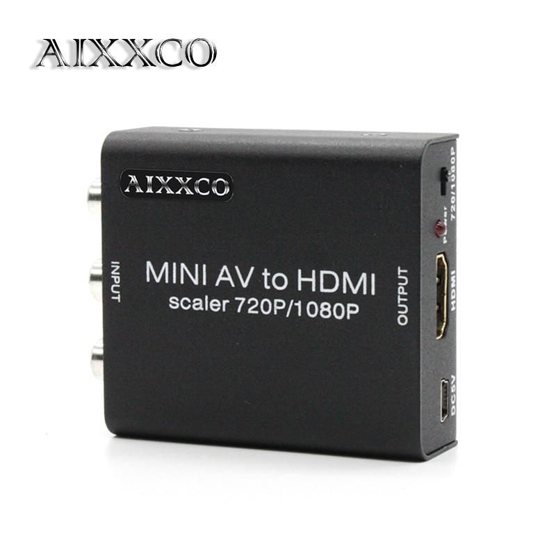 AIXXCO Alloy 1080P RCA to HDMI AV CVBS to HDMI AV2HDMI Mini AV to HDMI Converter Signal Converter for TV, VHS VCR, DVD Records f14935 universal hdmi to micro hdmi av to analog signal converter module card for fpv a5000 a6000 a7000 camera quadcopter