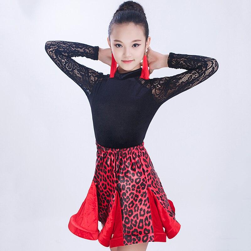 Offre spéciale robe de danse latine pour fille rouge extensible léopard dentelle jupe compétitive + hauts enfants robe moderne Costumes enfant DN5016
