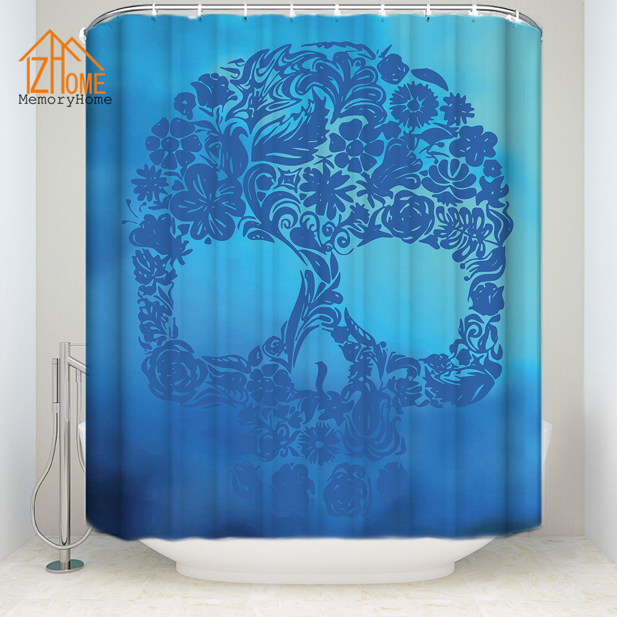 Memory Home Sugar Skull Blue Shower Curtain Bath Polyester Fabric ...