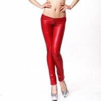 d21107845 NewSexy Latex Pencil Pants Matte Red Sexy Faux Leather Low Waist Pants  Zipper Crotch Detail Slim