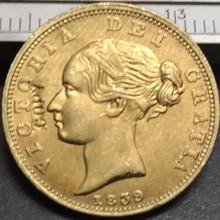 1839 Великобритания 1 Sovereign-Victoria 1st portrait. 9999 чистый позолоченный Имитация монеты