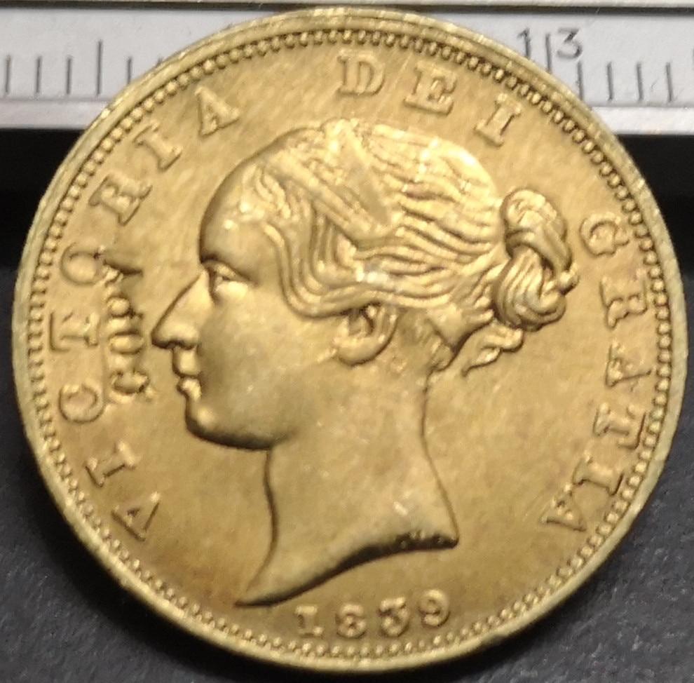 RARE Antique European 1839 United Kingdom 1 Sovereign Victoria 1st 1 British Great Britain Gold Color Coin