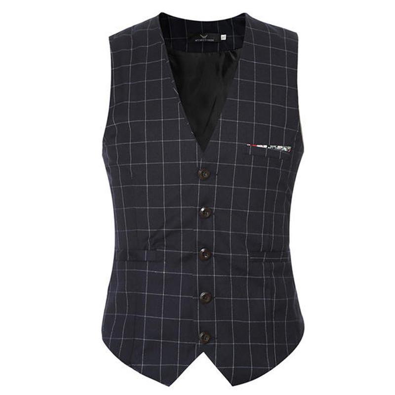 Hot sale Suit Vest Men 2018 men Suit Plaid Vests Slim Fit Brown Clothing Gentleman Business V-neck Collar Suit Waistcoat M-5XL ...