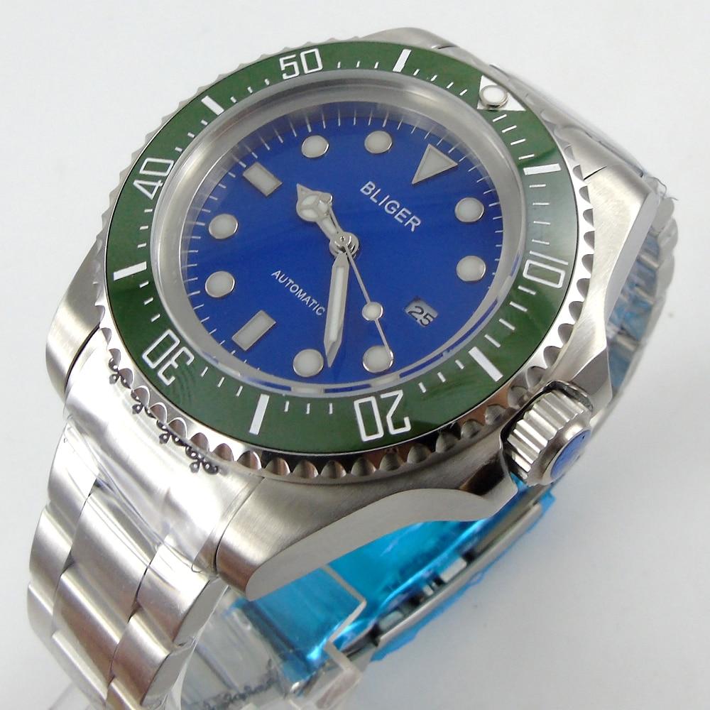 Bliger 44mm blue Sterile dial green Ceramic Bezel automatic mens watch все цены
