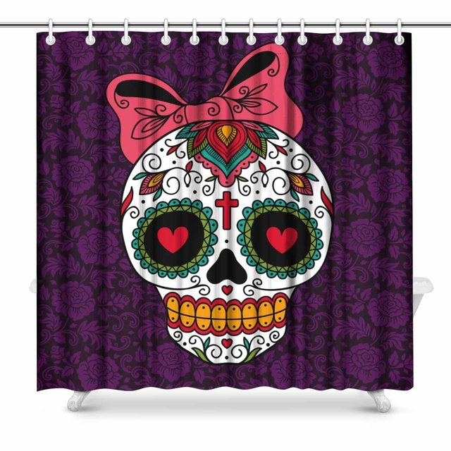 Aplysia Mexican Sugar Skull Art Decor Print Bathroom Shower Curtain Decorations Fabric 72 Inches