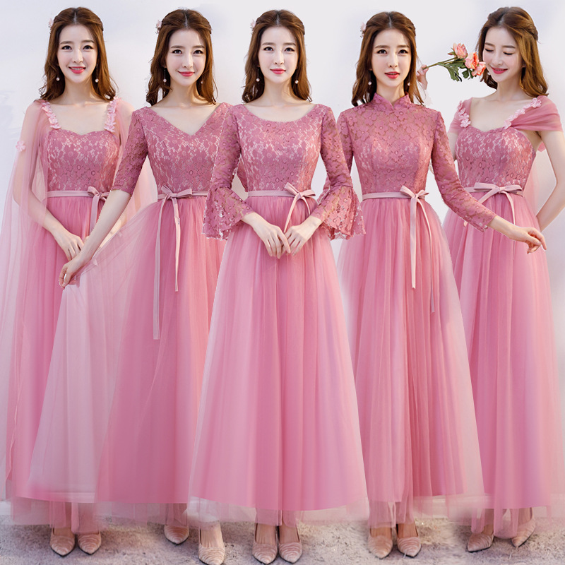 2019 Mid Sleeve Long   Bridesmaid     Dress   For Wedding O-Neck Pink Lace Ribbons Prom Gowns Ruched Chiffon Embroidery Party   Dress