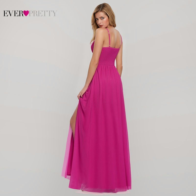 Hot Pink Bridesmaid Dresses Ever Pretty A Line V Neck Sleeveless Long Dresses For Wedding Party For Woman Vestido Madrinha 2019 in Bridesmaid Dresses from Weddings Events