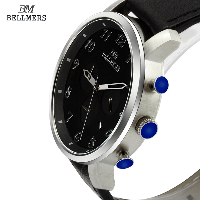 BELLMERS font b Men s b font Leather Watch font b quartz b font watch Luxury
