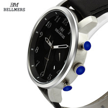 BELLMERS Men's Leather Watch quartz watch Luxury Brand Waterproof Multifunction Sports Wistwatch relogio masculino relojes