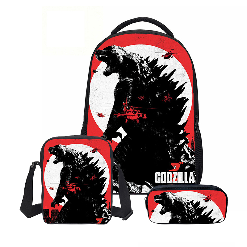 Veevanv Monster Godzilla Printing Men School Backpacks Fashion 3 Pc Set Children Bookbag With Pencil Case Shoulder Bags Cartoon
