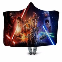 Warrior 3D Printed Plush Home Office Hooded Blanket for Adult Child Washable Warm DIY Wrap Sofa Cloak Velet Fleece Throw Blanket