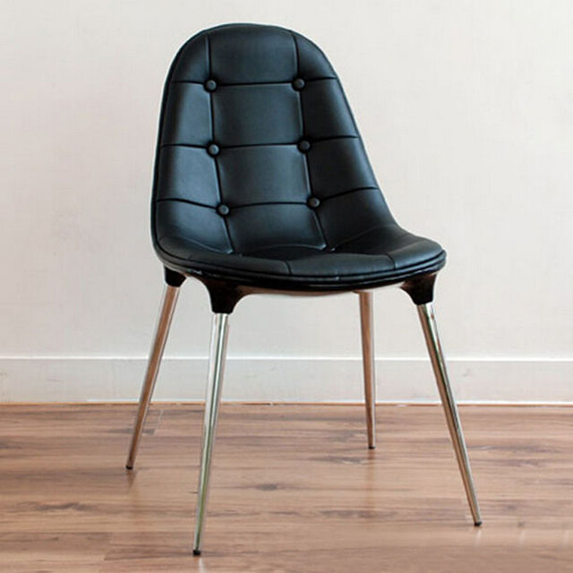 Free Shipping Side chair Black PU Leather