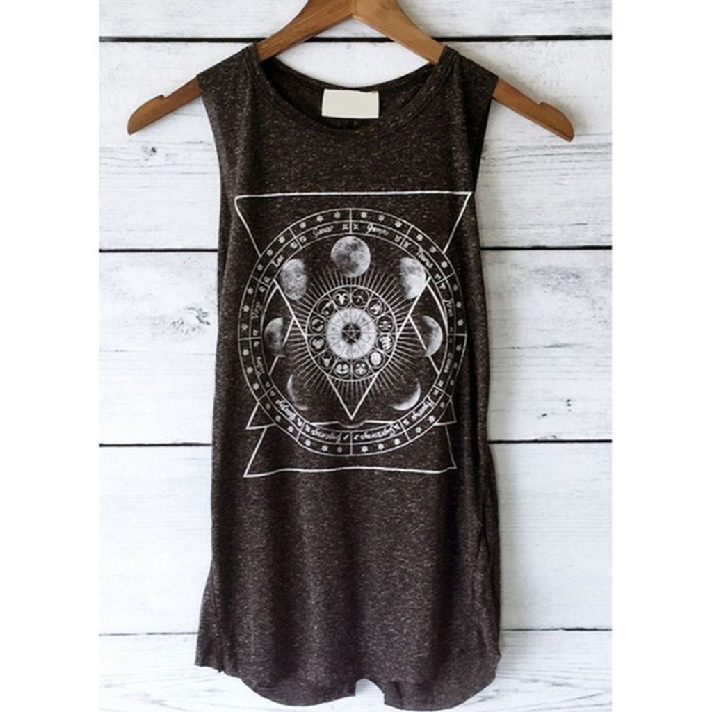 2019 Vintage Women's Tank Tops 2019 Summer Print Vest Casual Loose Top Sleeveless Tank Sport Pullover Tunic Top(China)