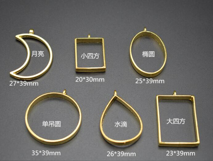 Metal Frame Open Bezel Setting Blank Pendant for UV Resin Jewelry Making moon round oval shape stylish arrow shape embellished double round frame sunglasses for women