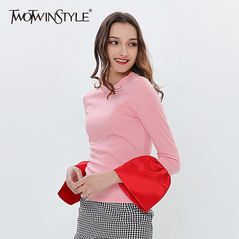 TWOTWINSTYLE Patchwork Flared Sleeve Female T-shirt Long Sleeve T-shirts For Women Casual Top White Korean Clothes Large Size