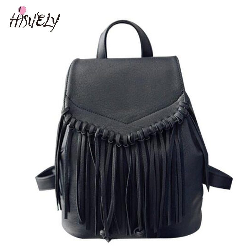 2017 New fashion PU Leather backpack women Backpack Unisex Casual Style School Bag Shoulder Bags Feminine College Tassels Retro luxury fashion retro pu leather famous brand women backpack american style ladies dark green bag college student school bags