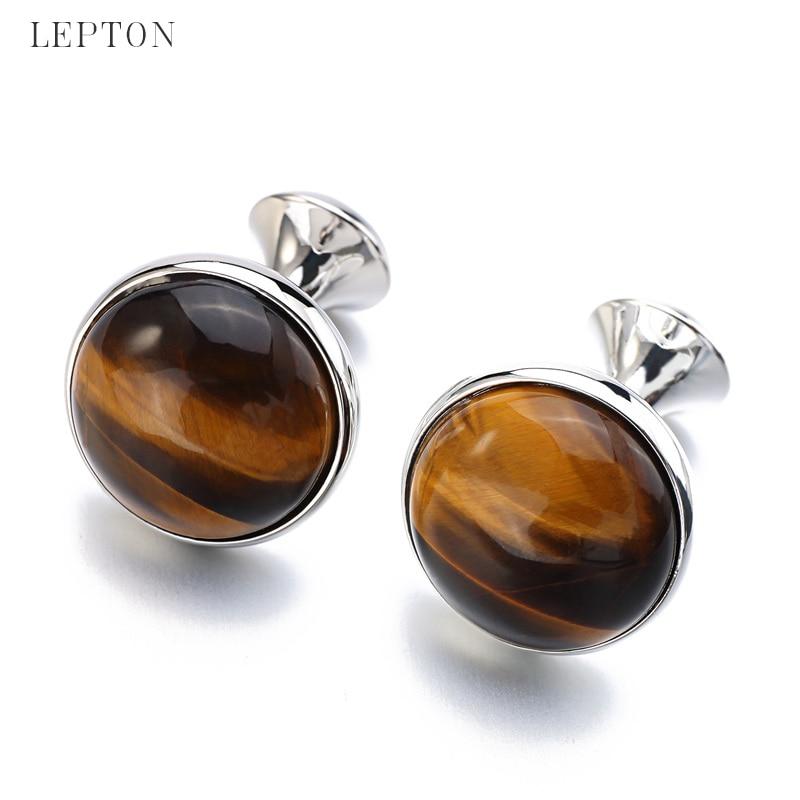 Butonët e rrathëve me gurë të ulët me luksoze Tiger-Eye për - Bizhuteri të modës - Foto 6