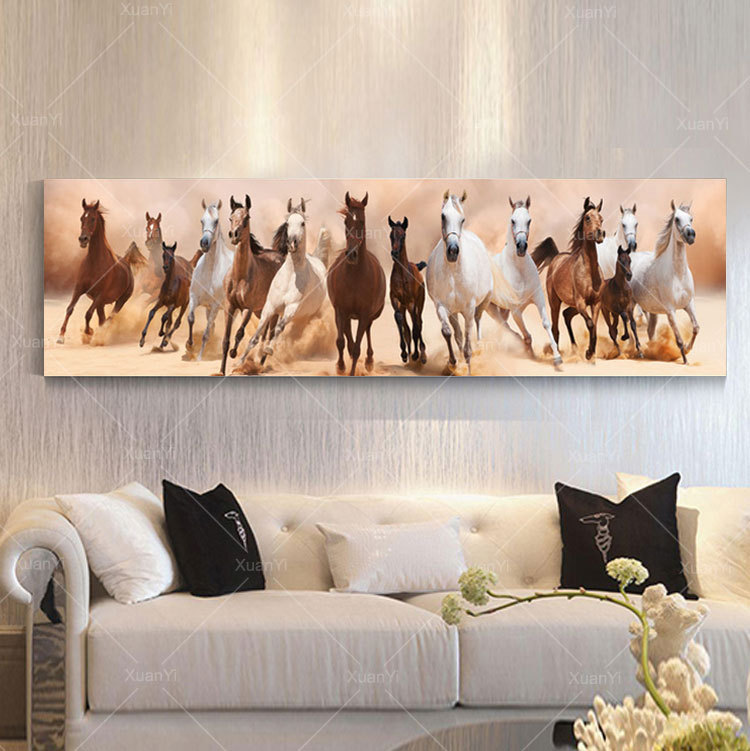 Wall Art Canvas Oil Painting Beautiful Landscape Horse Picture ...