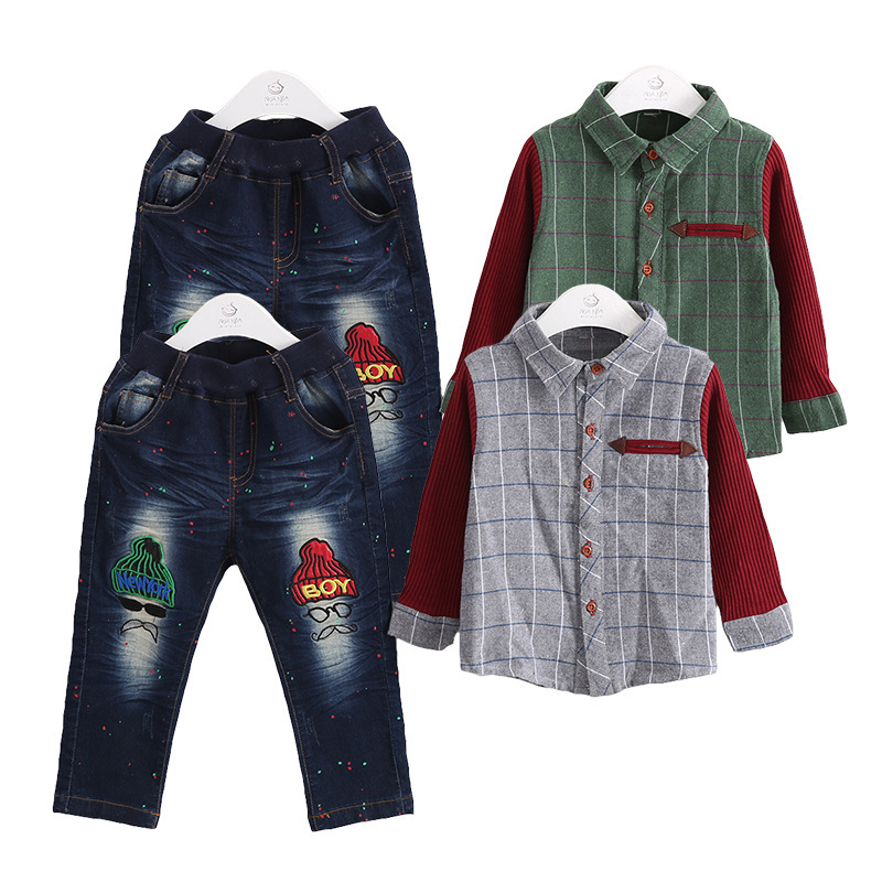 ФОТО Anlencool New spring and autumn baby clothing new plaid cowboy suit boys two-piece Baby clothes suit knit sleeves free shipping