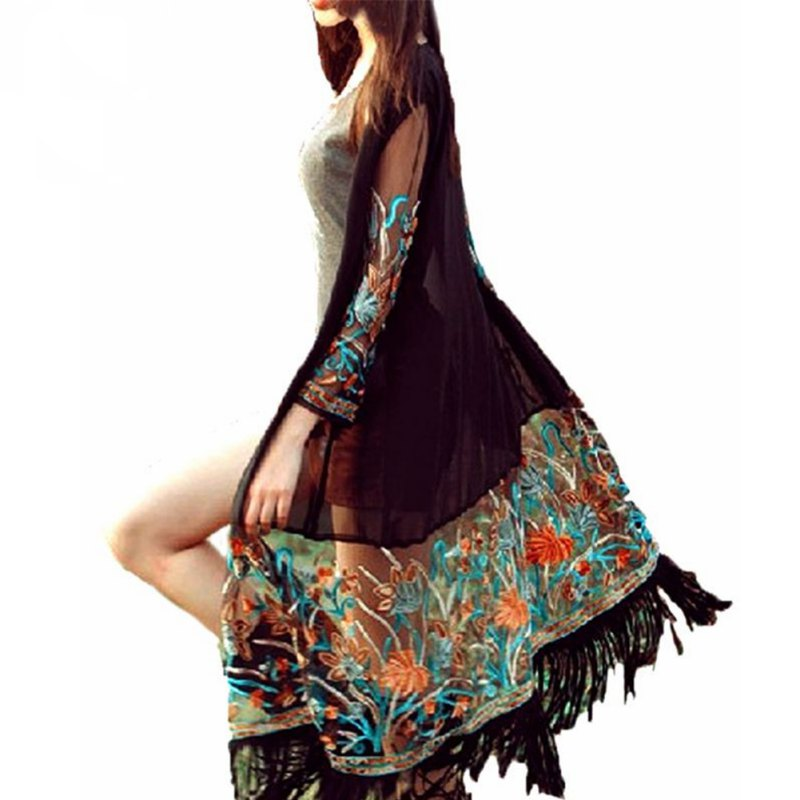New Summer Women Vintage Boho Floral Tassel Beach Bikini Cover Up Top Chiffon Blouse Shirts Long Cardigan
