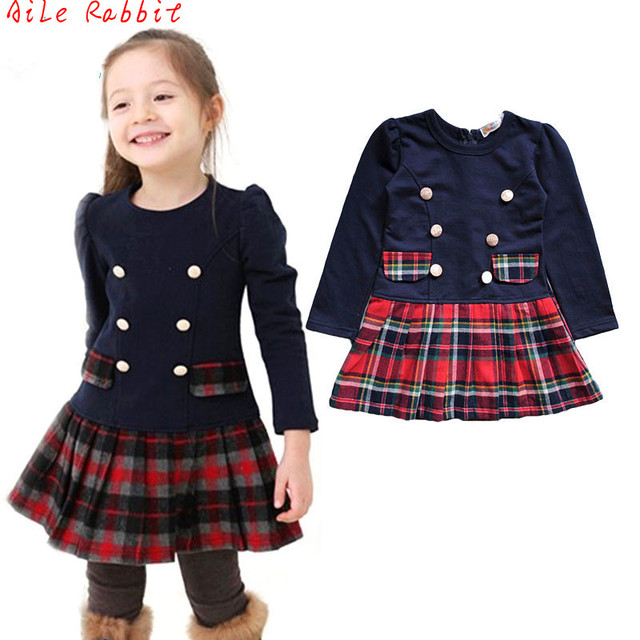 Осенне-весеннее двубортное платье для девочек возрастом от 3 до 7 лет, детское платье в клетку с длинными рукавами школьные платья для малень...
