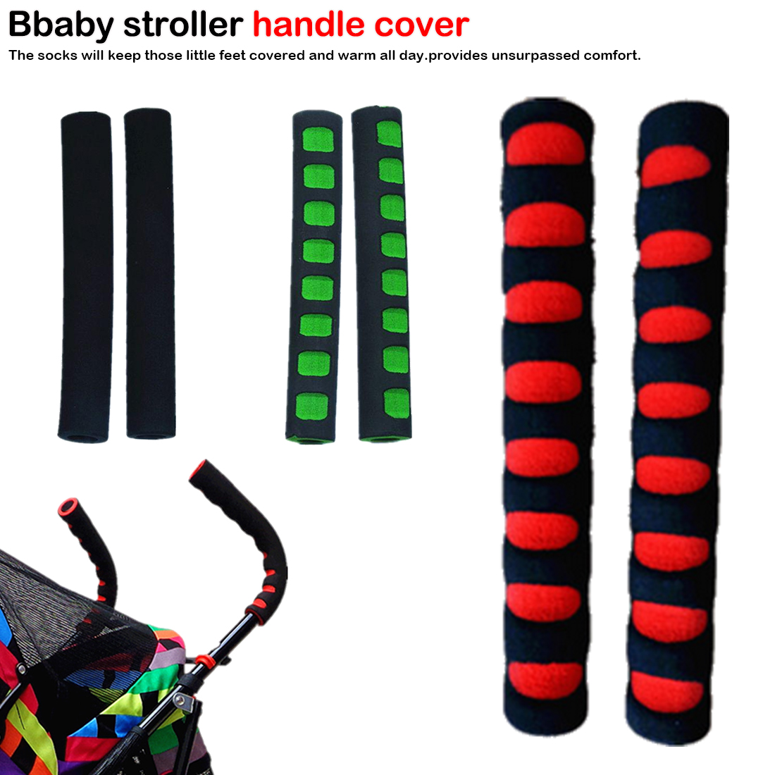 2pcs/set Baby Stroller Handle Cover Push Tube Cart Sleeve EVA Foam Covers Armrest Soft Protector Grips Accessories High Quality(China)