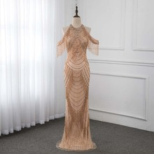 Rose Gold Rhinestones Long Evening Dresses Mermaid YQLNNE