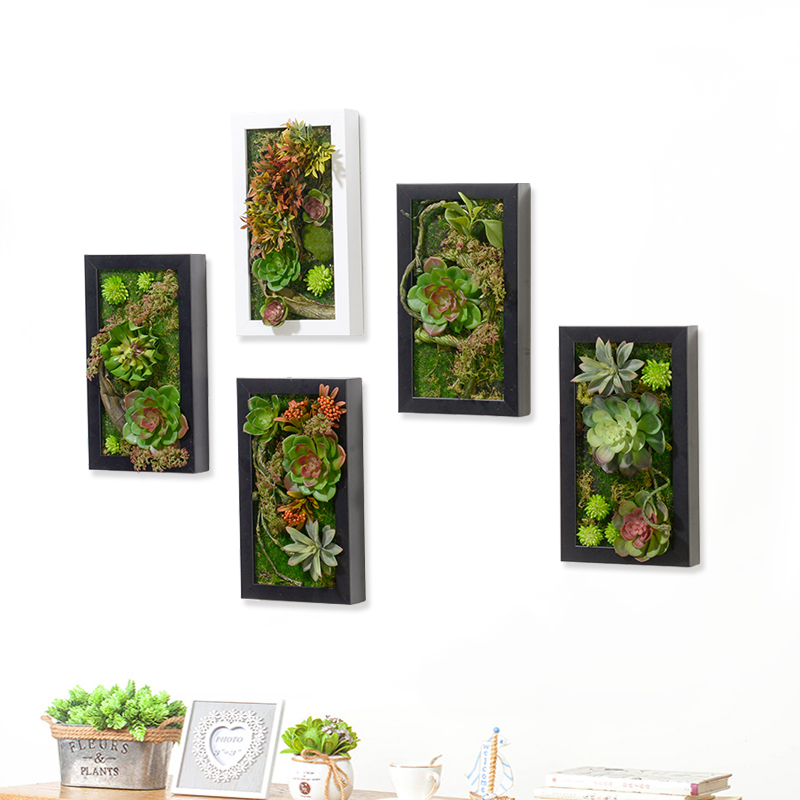 New 3D Creative Artificial Flowers Metope Succulent Plants Frame Flower Artificial Decoration Wood Frame Wall Decor Home Decor