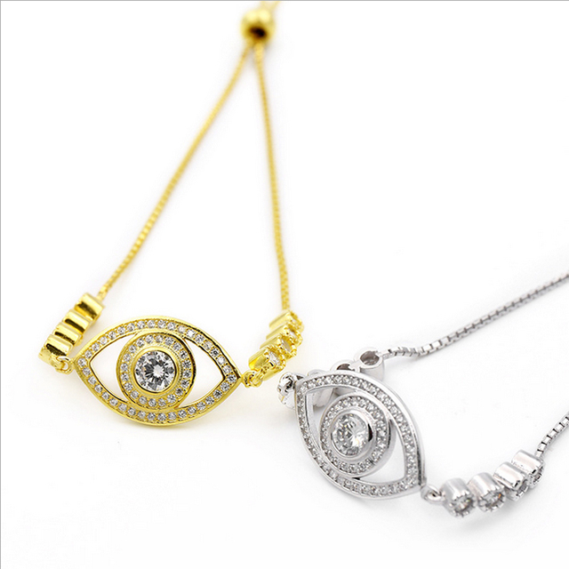 2016 New Arrival Eye Devil Series Ancient Egyptian Eyes Totem 925 Sterling Silver Turkish Fatima White Eye Bracelet for Women