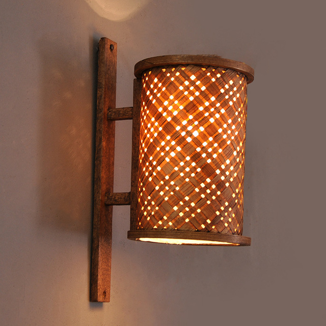 Southeast Asian Style Hotel Club Bamboo Wall Lamp Aisle Corridor Courtyard Decorative Sconce Whole 4061