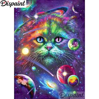 Dispaint Full Square/Round Drill 5D DIY Diamond Painting Cat planet Embroidery Cross Stitch 3D Home Decor A12888