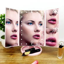 LED Touch Screen Makeup Mirror 22 LEDs Lighted Make-up Cosmetic Mirror Adjustable Vanity Folding Adjustable Tabletop Countertop frameless vanity mirror with light hollywood makeup lighted mirror 3color light cosmetic mirror adjustable touch screen 58 46cm