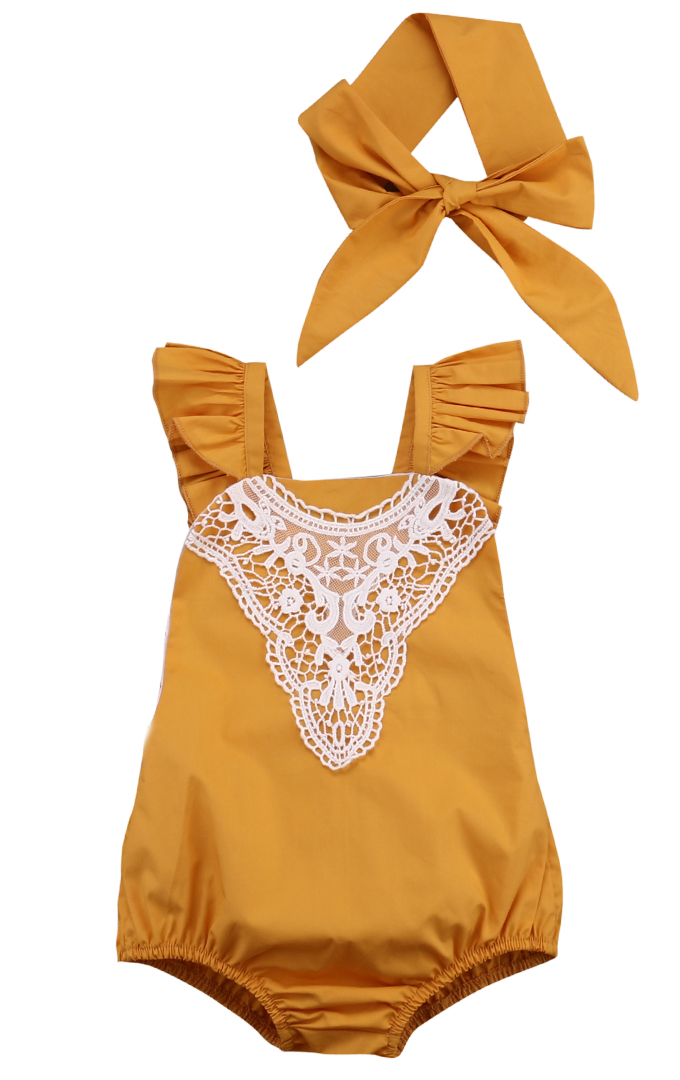 Cute Newborn Baby Girl Lace Romper Clothes Infant Baby Summer Lace Jumpsuit Sunsuit + Headband 2PCS Outfit Clothing