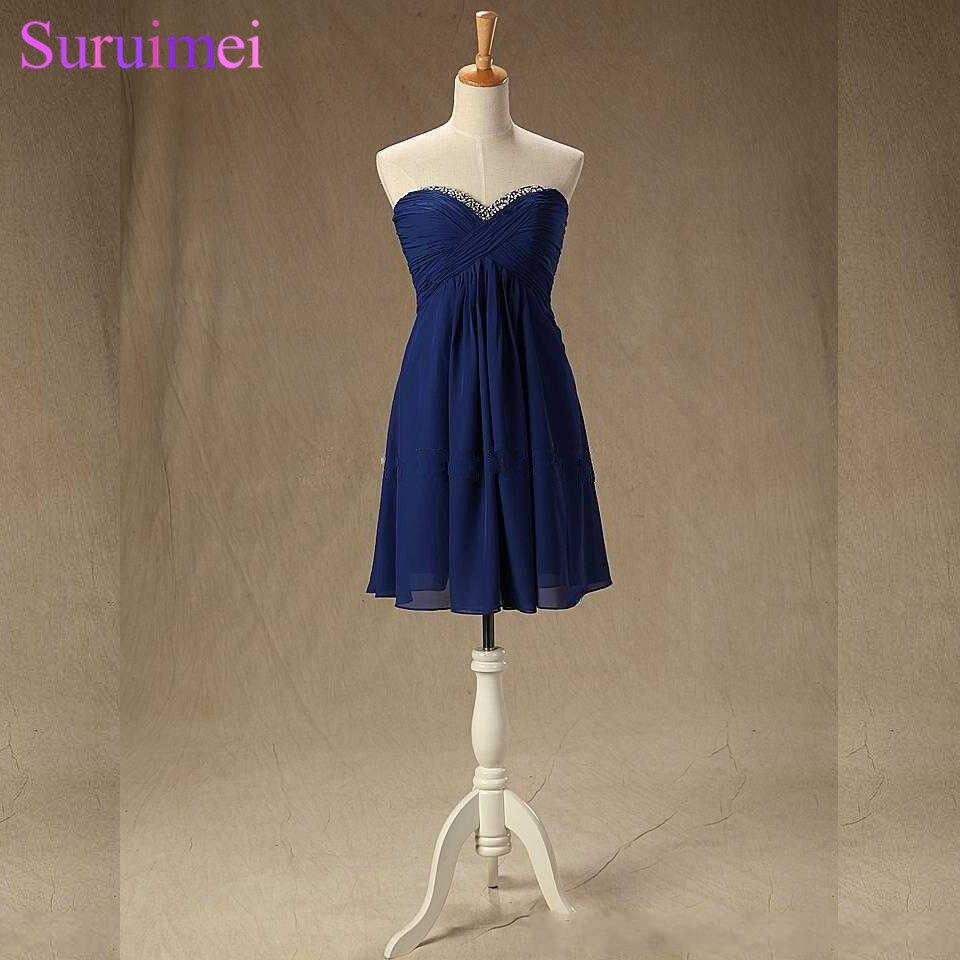 Navy Blue   Bridesmaid     Dresses   Short Knee Length Chiffon Sweetheart Backless Key Hole Cheap Beach Brides Maid   Dress